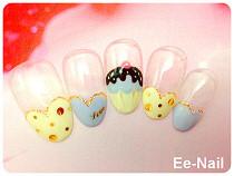 バレンタインカップケーキネイル