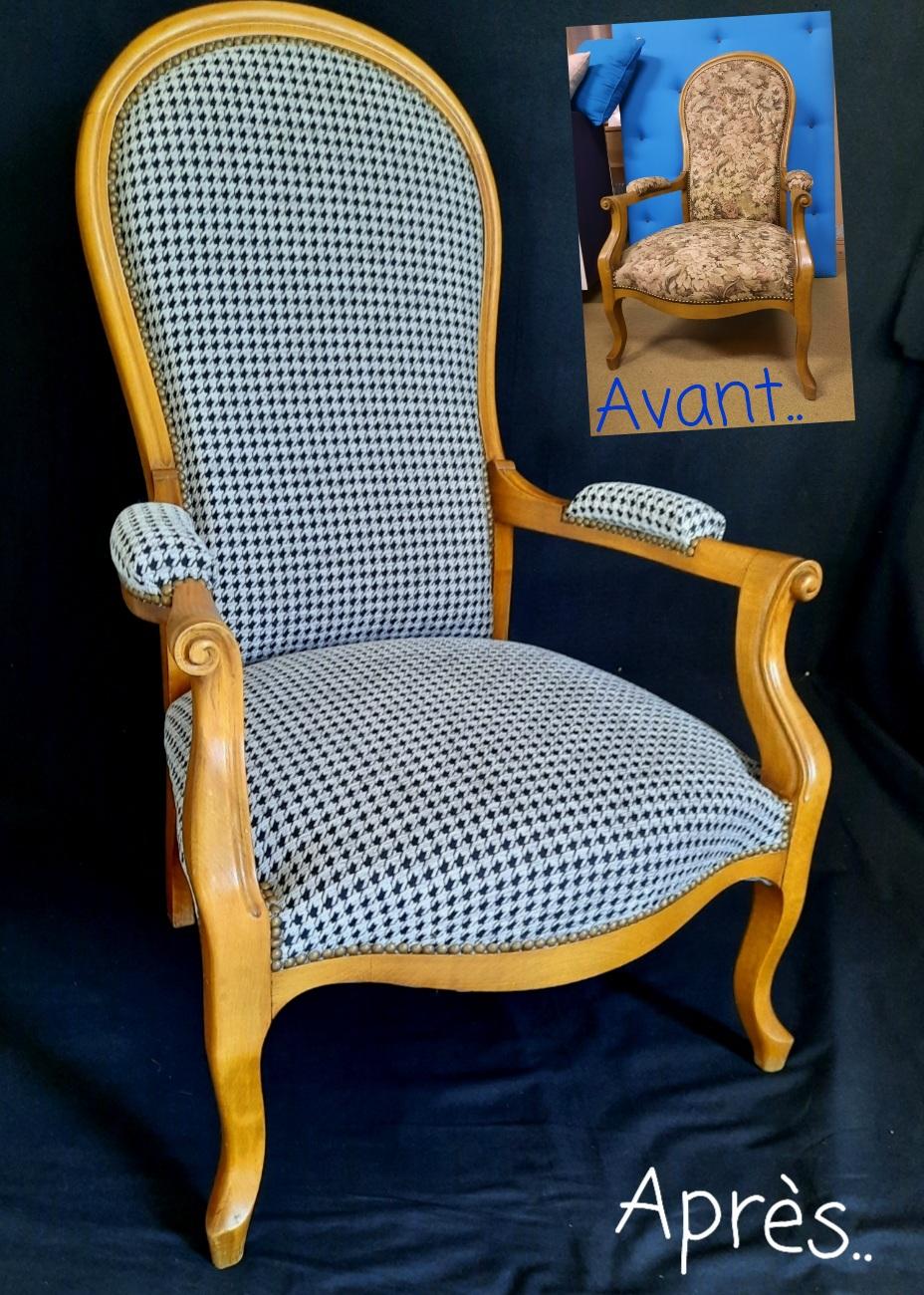 Rénovation d'un fauteuil voltaire.