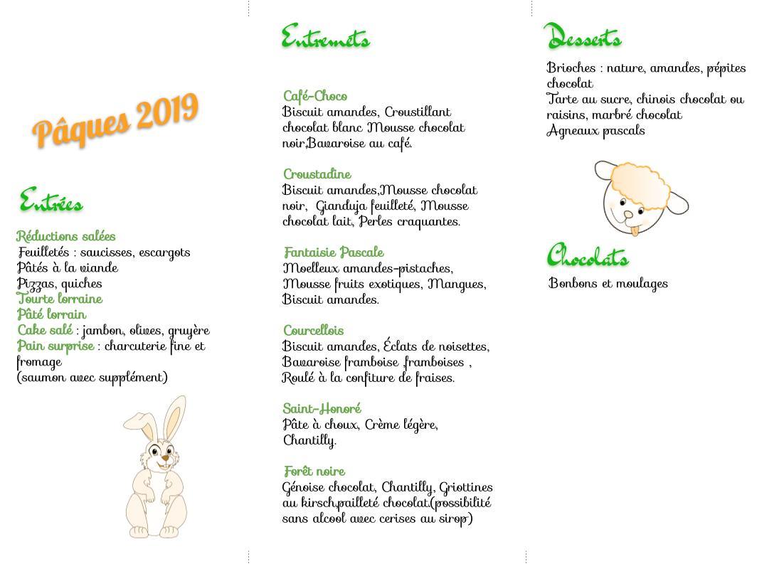 Menu de Pâques 2019 recto