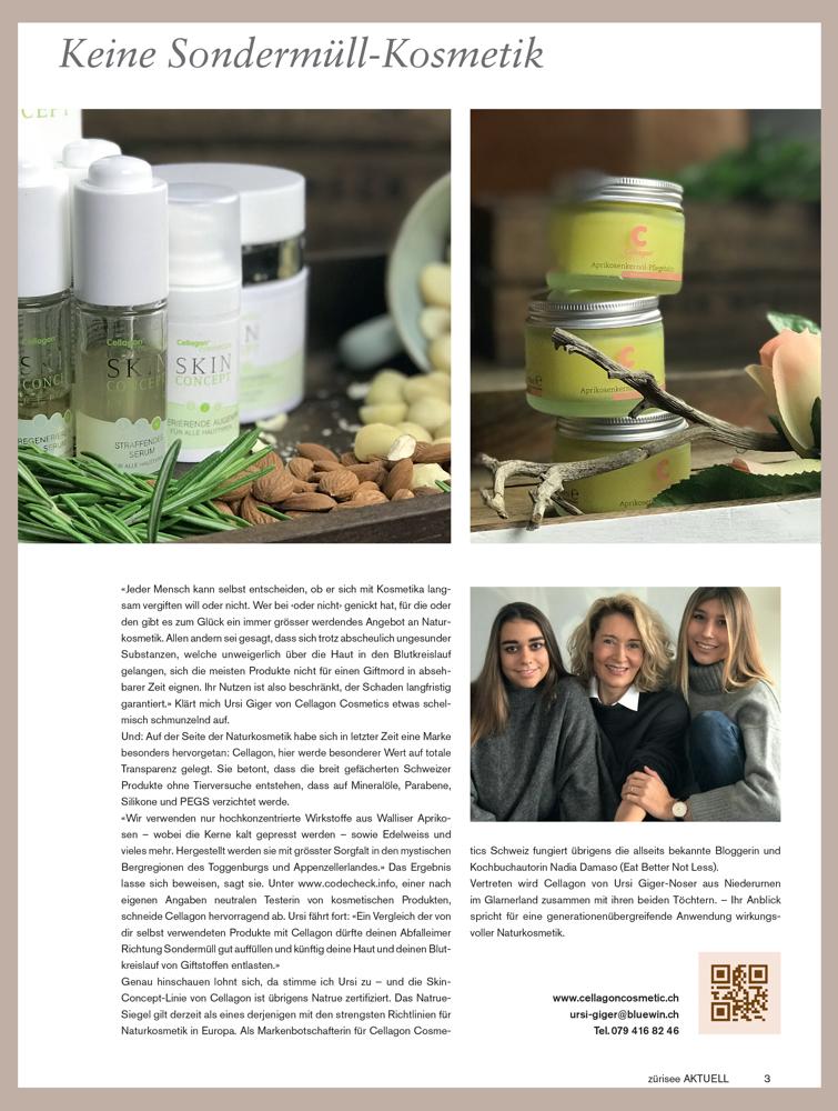 Zürisee aktuell Skin Concept Aprikosenkernöl Familienfoto PR-Bericht über Cellagon Cosmetics