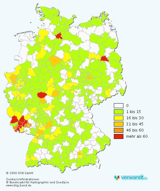 姓Bier的德國人口分佈