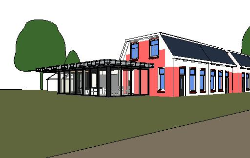 ontwerp uitbreiding met badkamer, slaapkamer, keuken en bijkeuken