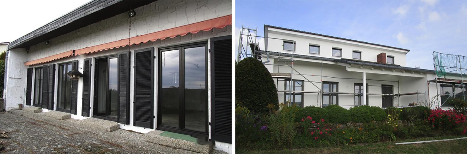 Altbausanierung in modernes Wohnhaus, zum Effizienzhaus mit neuem Raumkonzept