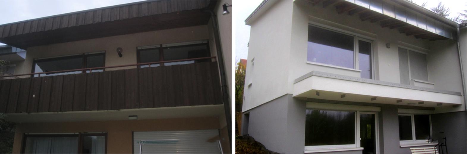 Fassaden-, Fenster- und Balkonsanierung mit neuem Dach
