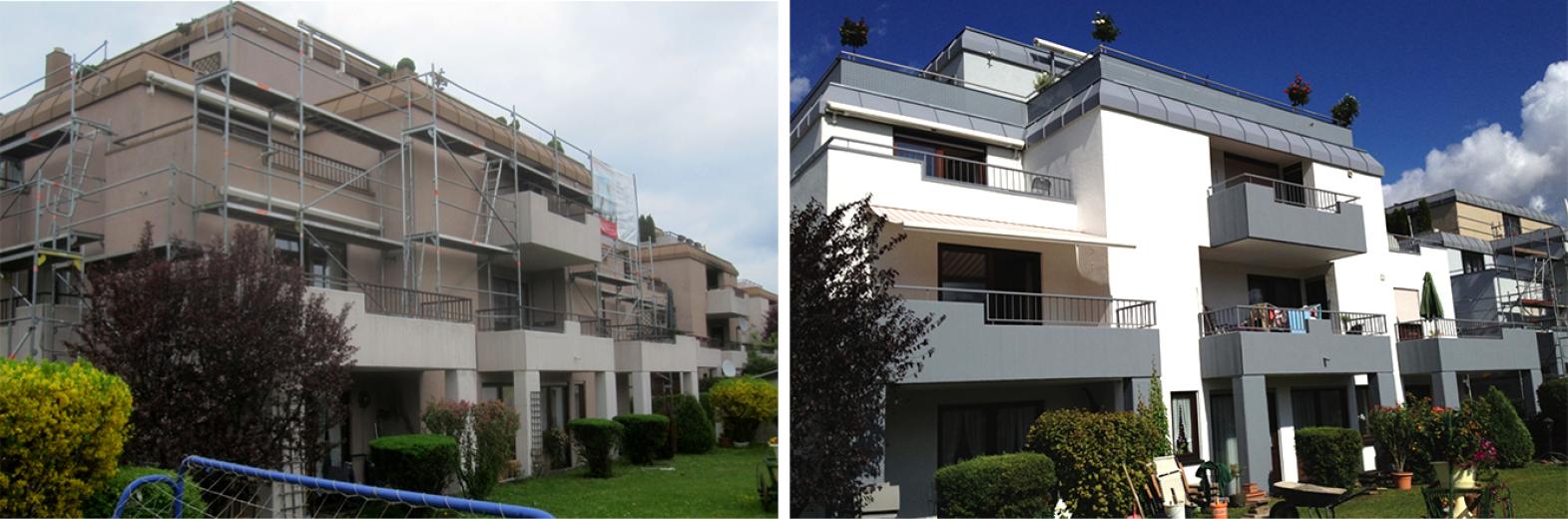 Flachdach- und Terrassensanierung mit neuer Fassade