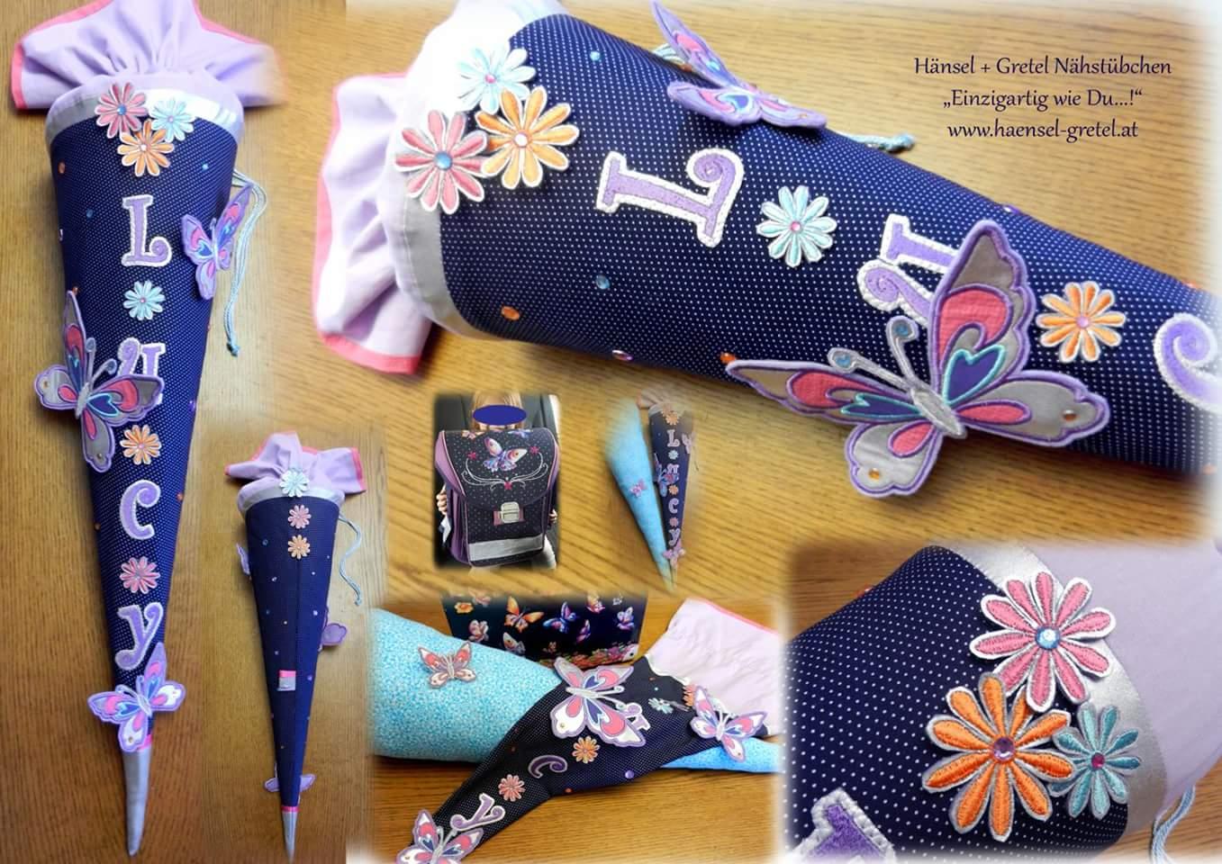 Schultüte Schmetterlinge plus Inlet Kissen
