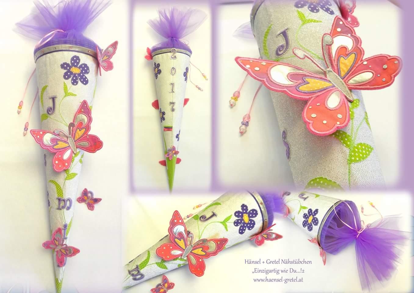 Schultüte Schmetterlinge Blumen