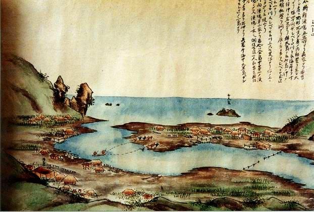 Селение Сибеторо, Итуруп. Рисунок Имаяура Дзирокити, 1857 г. Библиотека Университета Хоккайдо
