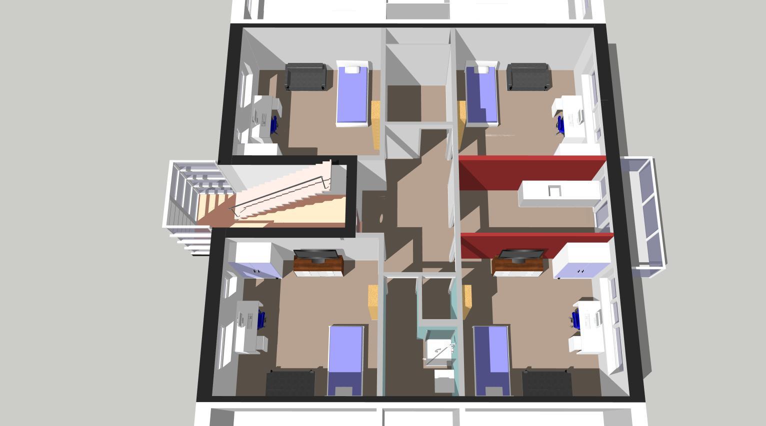 Indelingsvariant woonopp. 95 m2, 4 aparte kamers + gemeenschappelijke keuken en badkamer