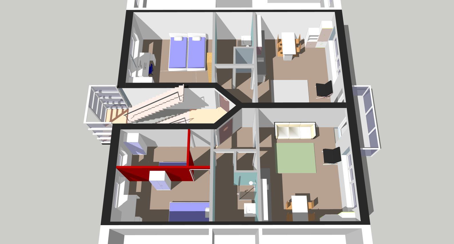 Indelingsvariant 2 x twee á driekamerwoning, elk met een woonopp. van 45 m2