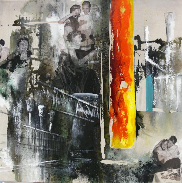 """DI-tOG 017 Werk Dorothee Impelmann """"Ruhrpottfeuer - 2"""" 2011 - 50 x 50 x 1,9 cm, Mixed Media - tOG-Düsseldorf (c) Dorothee Impelmann"""