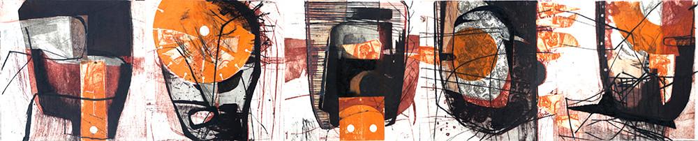 tOG T.W. 053 Kopfzeile VIII  - Kombinationsdruck-Collage-Zeichnung - 30x150 cm - 2012 - Tina Wohlfarth Künstlerin der tOG-Düsseldorf