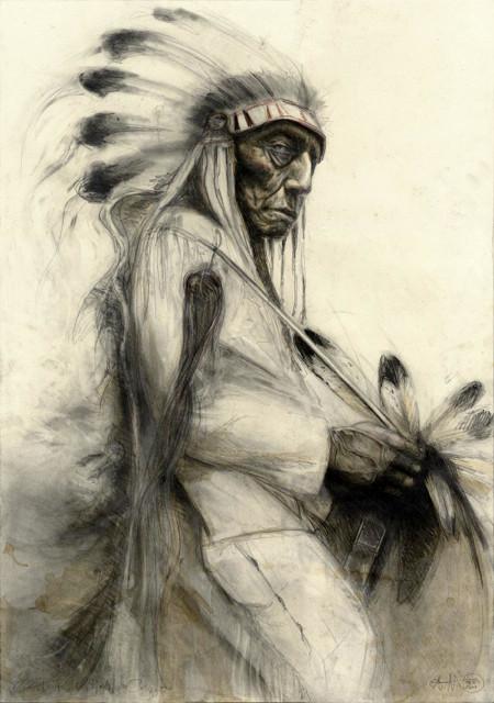 """tOG-A.N.001-WVz.4990  """"Chief Red Bird - Cheyenne"""" 2015 - 100 x 70 cm Andreas Noßmann Künstler der tOG-Düsseldorf"""