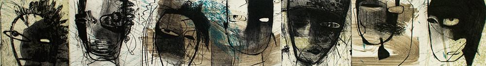 tOG T.W. 052 Kopfzeile III - Kombinationsdruck-Zeichnung - 20x140 cm - 2010 - Tina Wohlfarth Künstlerin der tOG-Düsseldorf