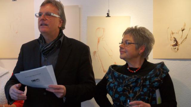 Galerist Dirk Palder und die Künstlerin Roswitha Schardt