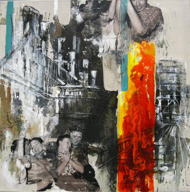 """DI-tOG 016 Werk Dorothee Impelmann """"Ruhrpottfeuer - 1"""" 2011 - 50 x 50 x 1,9 cm, Mixed Media - tOG-Düsseldorf (c) Dorothee Impelmann"""