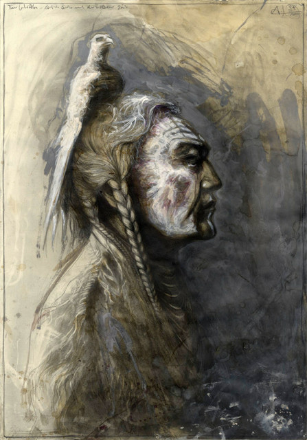 """tOG-A.N.012-WVz.5008 """"Two Whistles - Crow"""" 2015 - 100 x 70 cm - Andreas Noßmann Künstler der tOG-Düsseldorf"""
