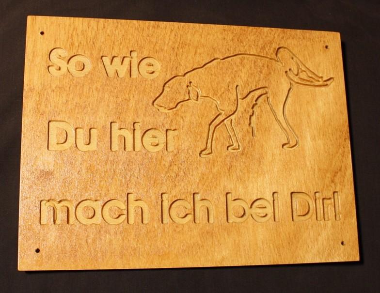 Holz Hinweisschild Hund
