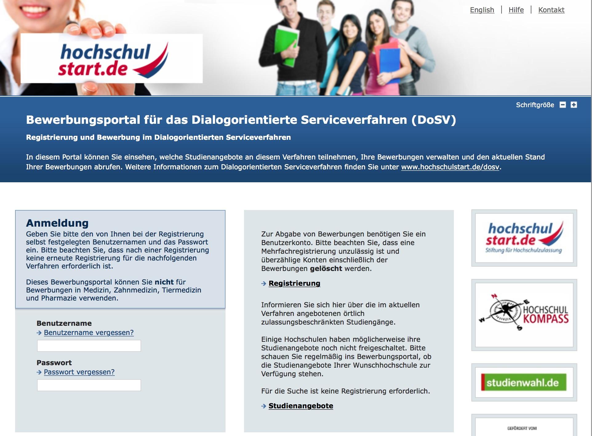 Screenshot des DoSV-Onlineportals