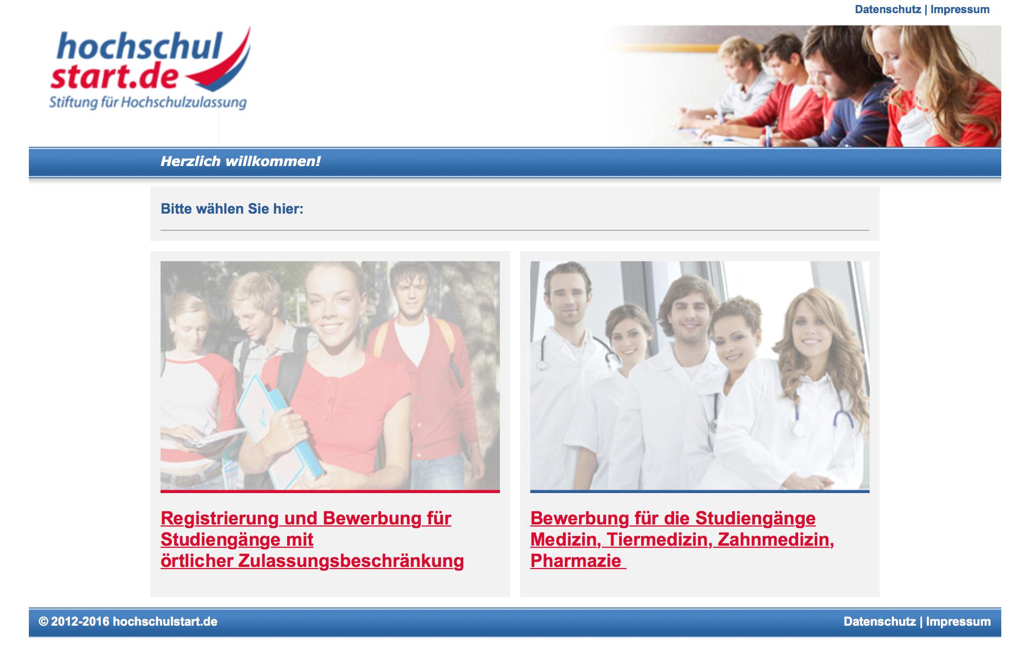 Der Webauftritt der Stiftung für Hochschulzulassung