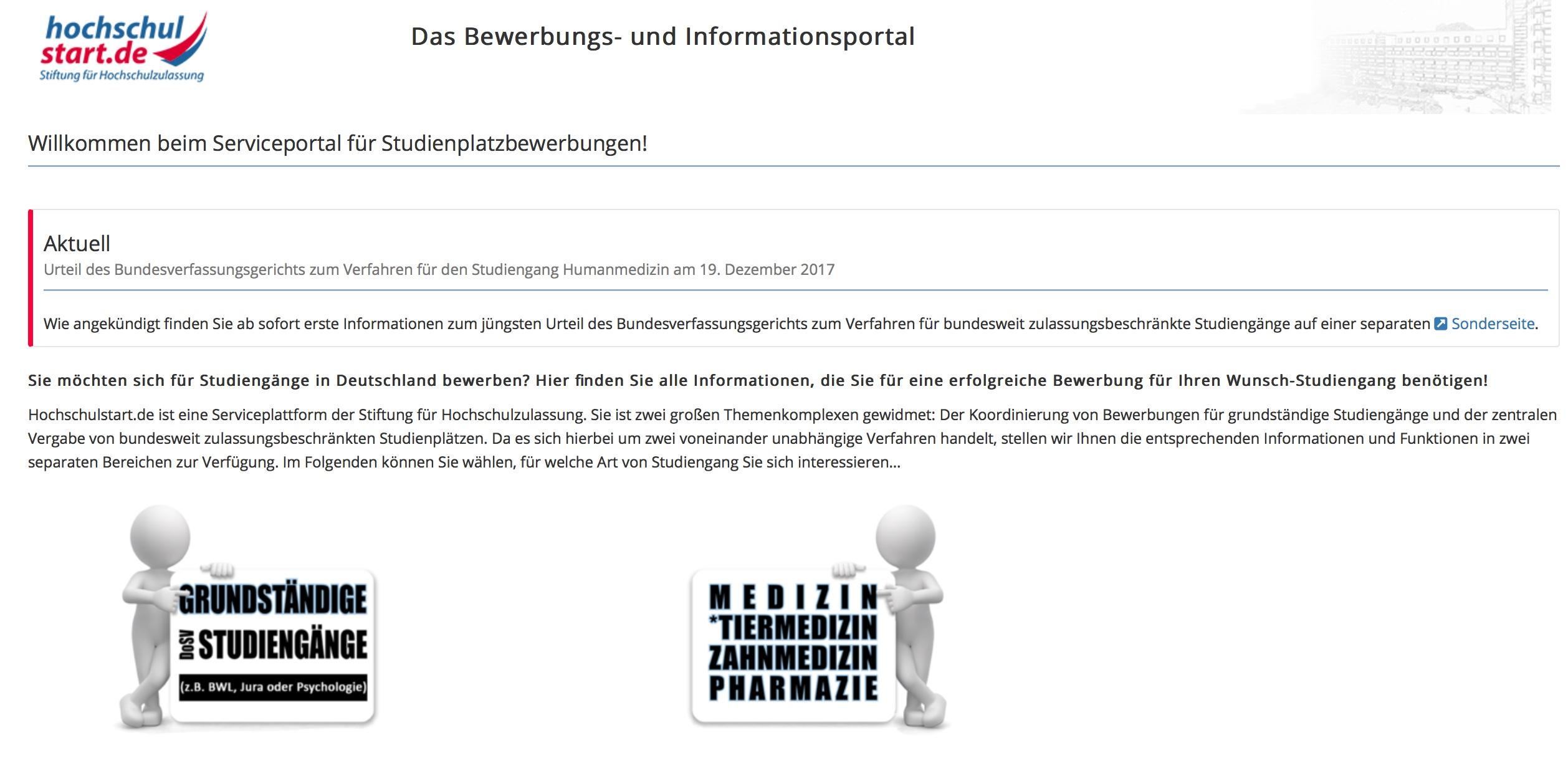 Screenshot der Website von Hochschulstart.de