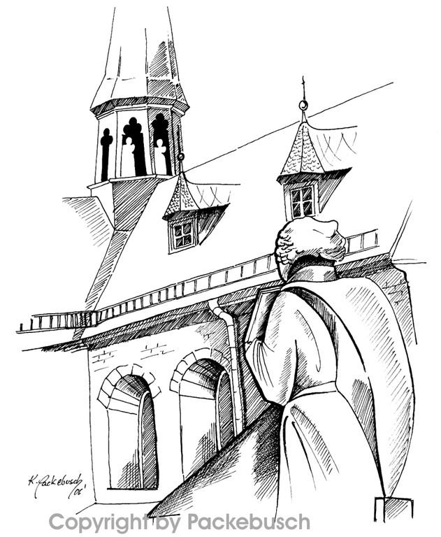 kliener Mönch im Hof der Huysburg