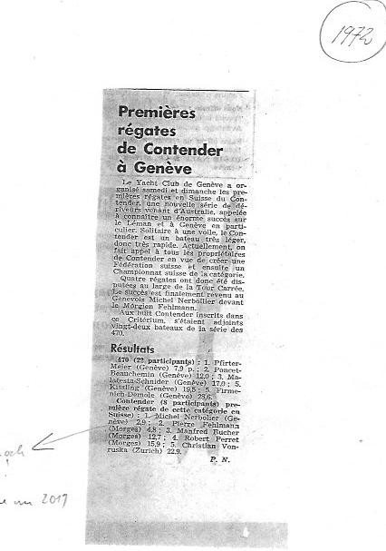 Dier erste Contender Regatta in Genf 1972, wer genau schaut sieht bekannte Namen....je Generation.