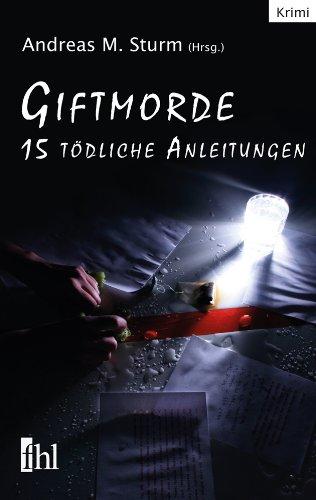 Buchcover der Kriminalanthologie Giftmorde mit vollgeschriebenen Blättern und einer Glaslampe als Motiv