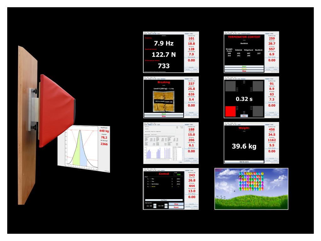 Schlagmesser mit Screenshots der Software Anwendungen