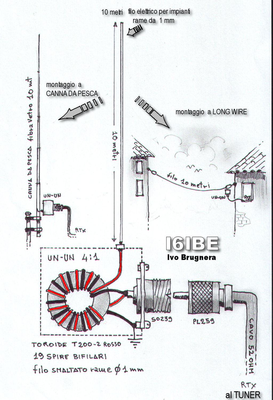 """Magnetic Balun Un Un Antenne: Antenna HF """"Canna Da Pesca"""""""