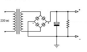 Alimentatore cc con ponte di diodi