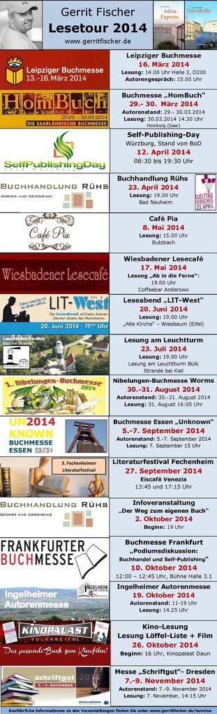 Die Lesetour 2014 führte Gerrit Fischer zu interessanten Lesorten und Veranstaltungen