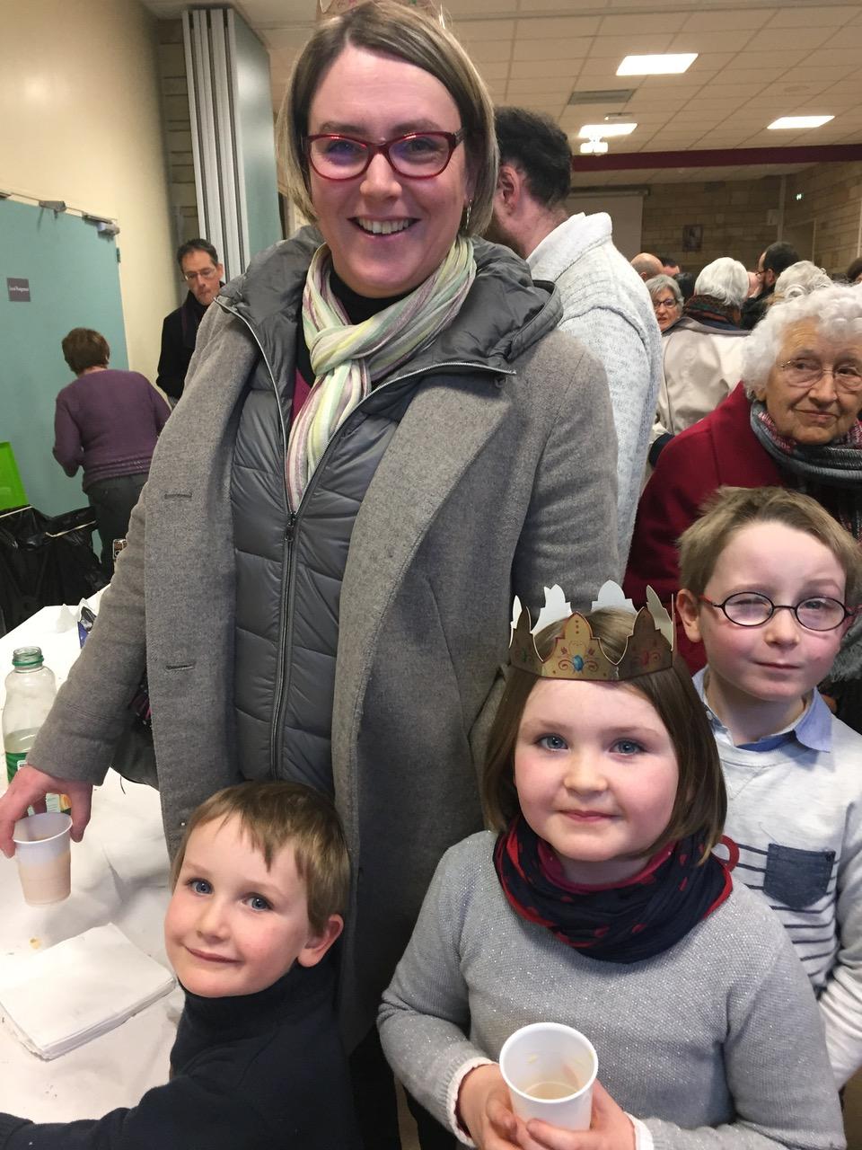 Les familles étaient là aussi ! Ici Anne-Sophie avec ses enfants Jean-Baptiste, Faustine et Antonin