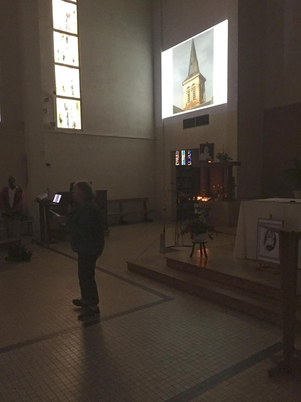 Accueil au Christ Roi de Courteille, présentation des divers clochers de la paroisse sainte Thérèse