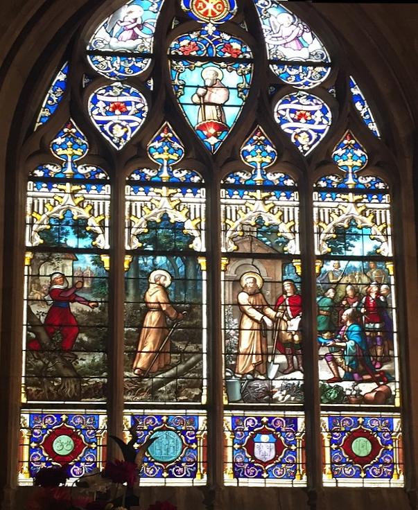 Vitrail historié de la vie de Saint Fiacre