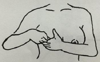 (乳頭・乳輪部マッサージの構え)