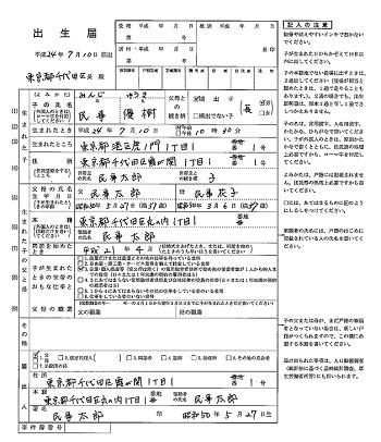 (左ページが出生届け)