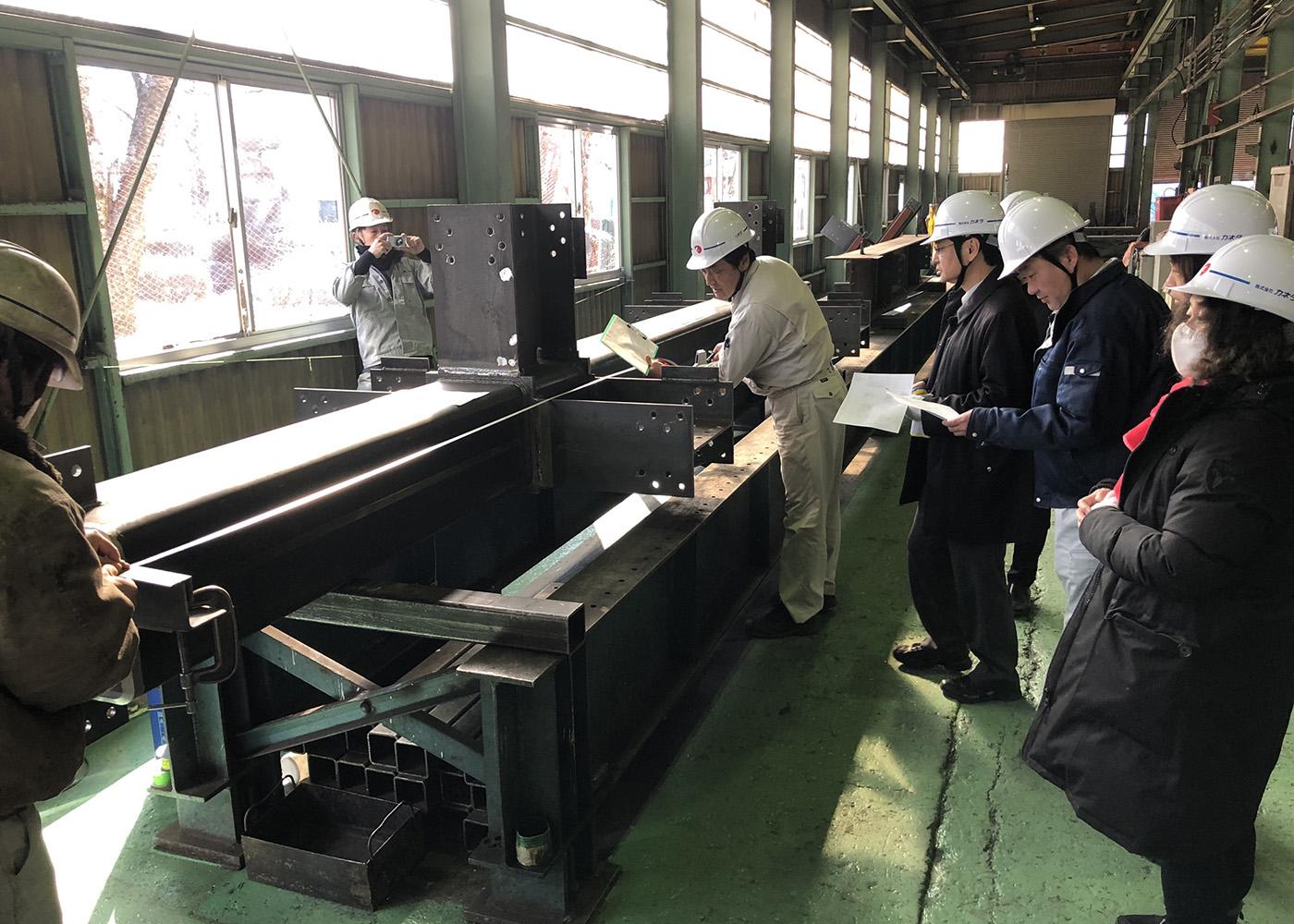鉄骨製品検査 長野の工場まで同行していただきました。