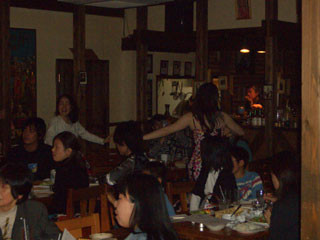 With audience.