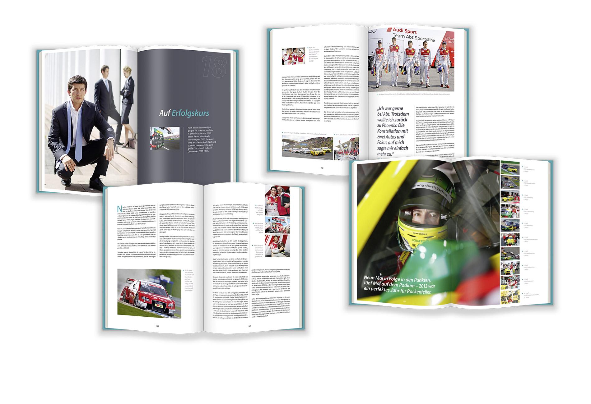 Mike Rockenfeller Buch – Layout der Innenseiten – Entwurf und Umsetzung