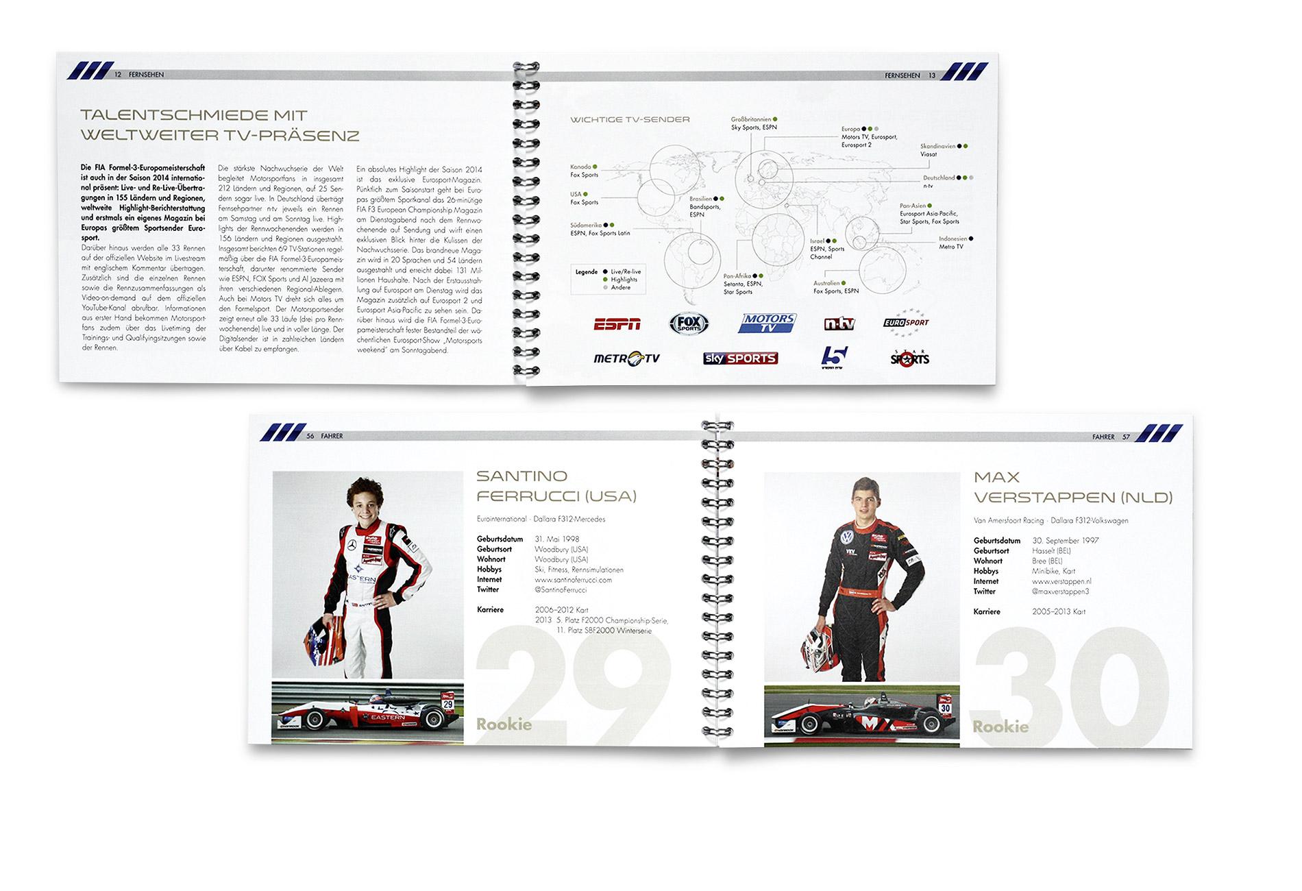 Formel-3-EM Media Guide – Layout der Innenseiten – Entwurf und Umsetzung