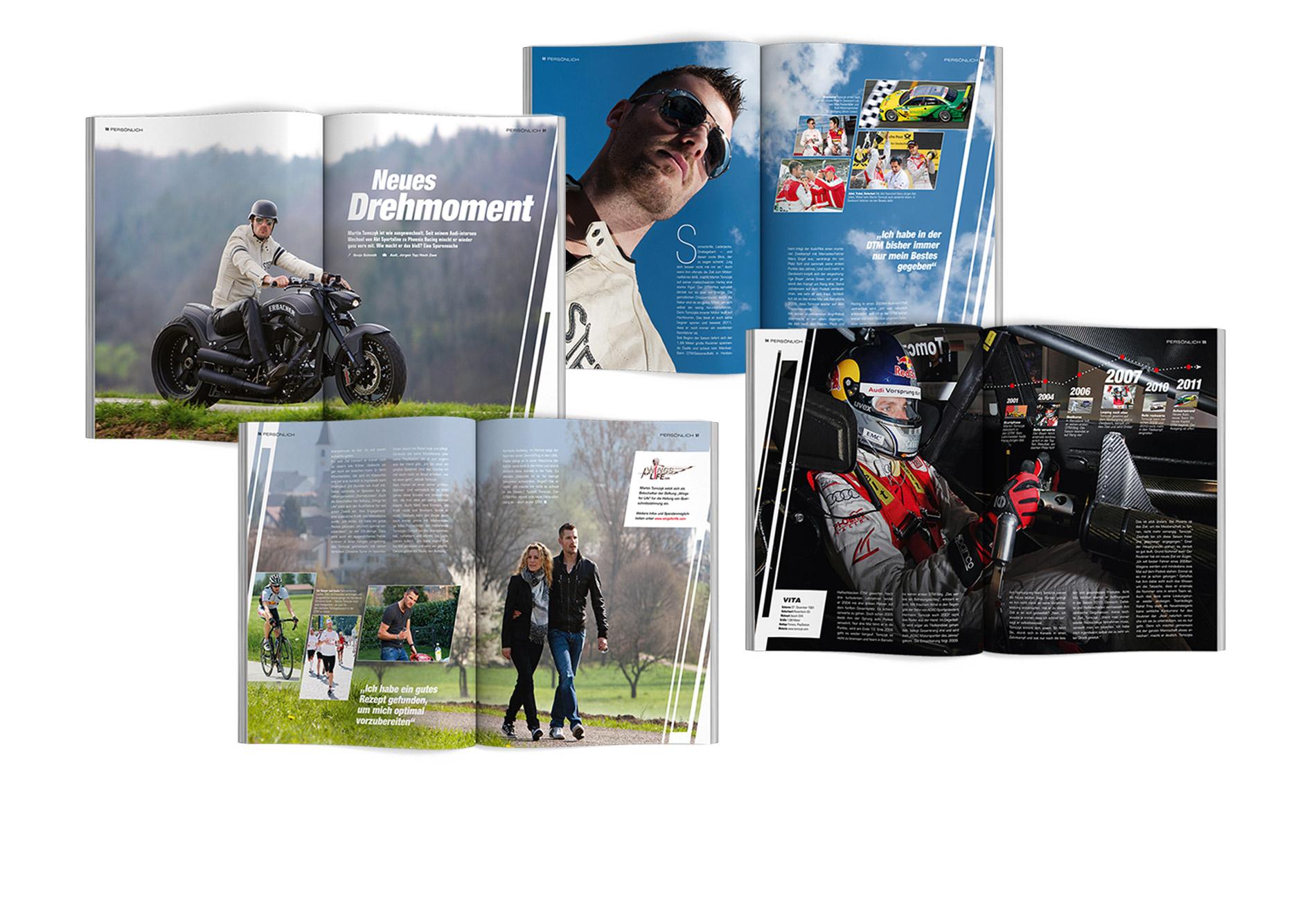 DTM Magazin – Layout Martin Tomczyk – Entwurf und Umsetzung