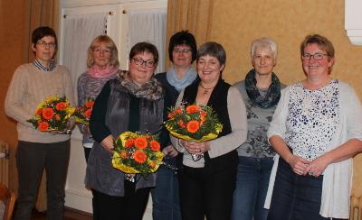 Der neue Vorstand 2018: Frauke Kersten, Kirsten Bartels, Inke Carstensen-Klatt, Sünje Albertsen, Kirstin Carstensen, Sabine Köhn, Dunja Petersen (v.l.n.r.)