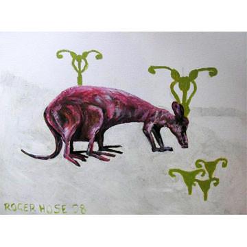 "Artist: Roger Hose | ""Kangasauras"" | 2008 | Oil on Canvas | H:300 x W:400mm | Price: $300.00"