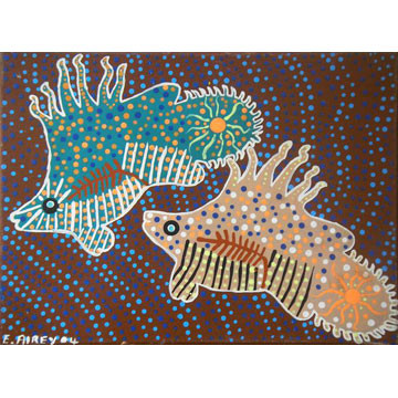 "Artist: E Airey | Australia | 2004 |  ""2 Fish"" | Acrylic on Canvas | H:295 x W:400 mm | Price: $200.00"