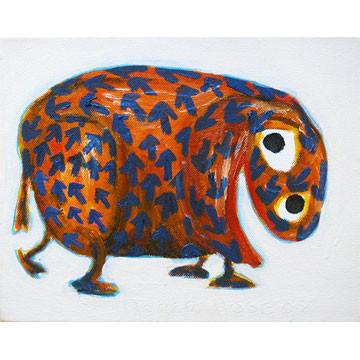 "Artist: Roger Hose | ""Happy Karmallama"" | 2008 | Oil on Canvas | H:200 x W:250mm | Price: $250.00"