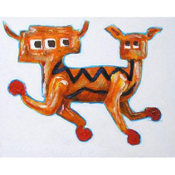 "Artist: Roger Hose | ""Boxing Karmallama"" | 2008 | Oil on Canvas | H:200 x W:250mm | Price: $250.00"