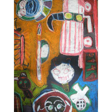 Artist: Blair Kyle | New Zealand | Drawing on Canvas Blind | Oil Pastel on Blind | H:1350 x W:550mm | Price: $280.00