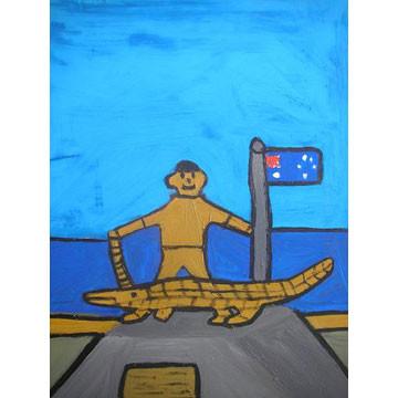 "Artist: Nicholas Rodgers | New Zealand | ""Crocodile Man"" | Acrylic on Board | H:490 x W:400mm Price: $240.00"