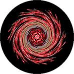 Mandala als Strudel mit roten Beeren mit schwarzem Hintergrund, Beerenstrudelmandala